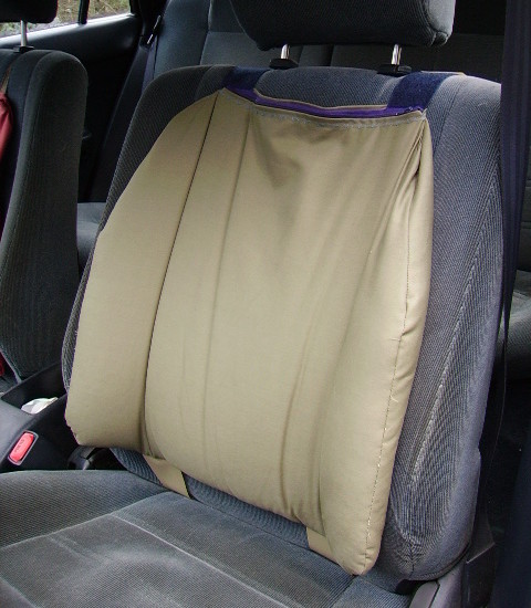 Miracle Back Support for car seats and office chairs.